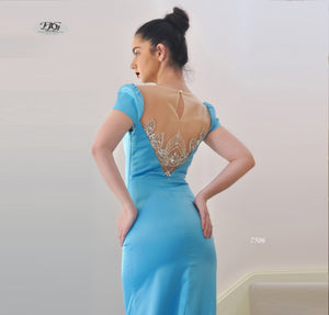 Close image of Lush, Liquid Cap Sleeve Formal Gown in Aqua Blue Style 7506 by Miracle Agency