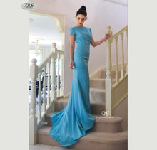 Load image into Gallery viewer, Lush, Liquid Cap Sleeve Formal Gown in Aqua Blue Style 7506 by Miracle Agency