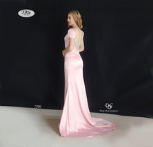 Load image into Gallery viewer, Lush, Liquid Cap Sleeve Formal Gown in Blush Pink Style 7506 by Miracle Agency
