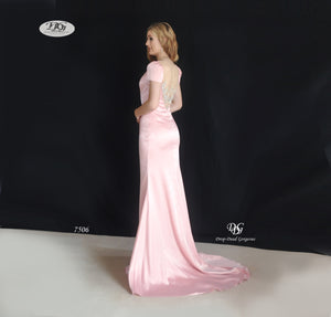 Lush, Liquid Cap Sleeve Formal Gown in Blush Pink Style 7506 by Miracle Agency