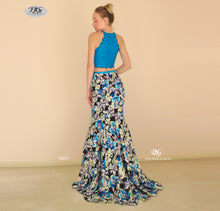 Load image into Gallery viewer, Two-Piece Floral Pattern Mermaid Formal Gown in Aqua Blue Style 8601 by Miracle Agency