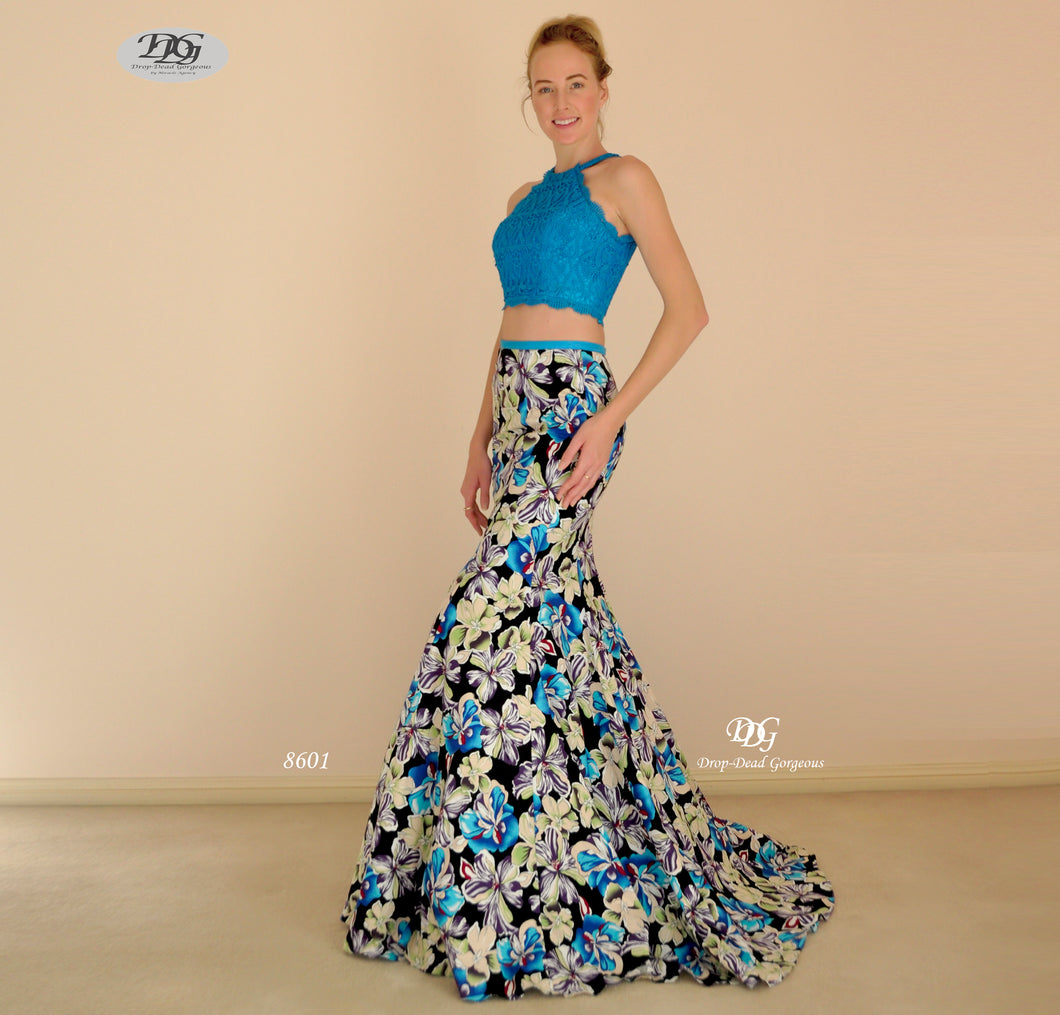 Two-Piece Floral Pattern Mermaid Formal Gown in Aqua Blue Style 8601 by Miracle Agency