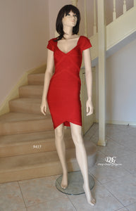 Bandage Cap/Slv Cocktail Dress in Red Style 9415