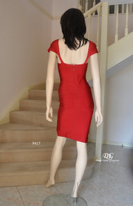 The back image of the Bandage Cap/Slv Cocktail Dress in Red Style 9415