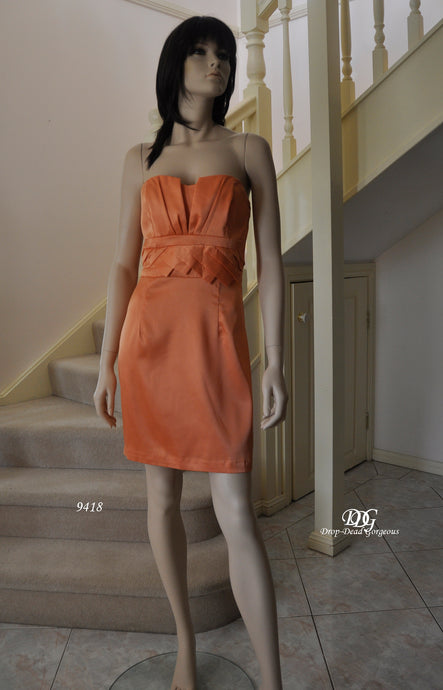 Strapless Cocktail Dress in Burnout Orange Style 9418 by Miracle Agency
