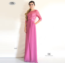 Load image into Gallery viewer, 3/4 Sleeve Evening Dress in Rose Pink Style 9608 by Miracle Agency