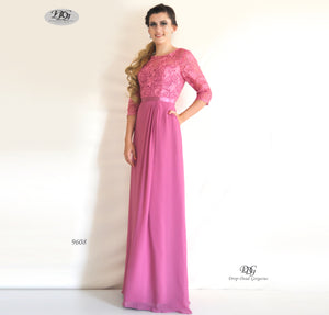 3/4 Sleeve Evening Dress in Rose Pink Style 9608 by Miracle Agency