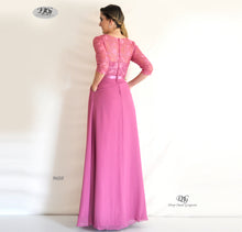 Load image into Gallery viewer, Back image of 3/4 Sleeve Evening Dress in Rose Pink Style 9608 by Miracle Agency