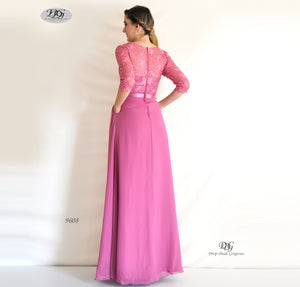 Back image of 3/4 Sleeve Evening Dress in Rose Pink Style 9608 by Miracle Agency