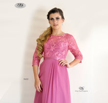 Load image into Gallery viewer, Close Up Image of 3/4 Sleeve Evening Dress in Rose Pink Style 9608 by Miracle Agency