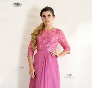 Close Up Image of 3/4 Sleeve Evening Dress in Rose Pink Style 9608 by Miracle Agency