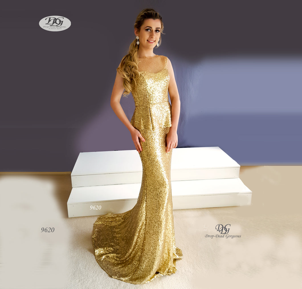 Sequin Formal Gown with Pelpum in Gold Style 9620 by Miracle Agency