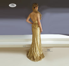 Load image into Gallery viewer, Back image of Sequin Formal Gown with Pelpum in Gold Style 9620 by Miracle Agency