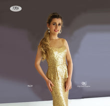 Load image into Gallery viewer, Close up details of Sequin Formal Gown with Pelpum in Gold Style 9620 by Miracle Agency