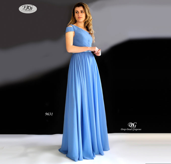 One Shoulder Pleated Bodice Gown in Steal Blue Style 9631 by Miracle Agency