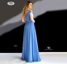 Load image into Gallery viewer, Back Image of the One Shoulder Pleated Bodice Gown in Steal Blue Style 9631 by Miracle Agency