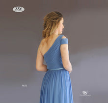 Load image into Gallery viewer, One Shoulder Pleated Bodice Gown in Steel Blue Style 9631 by Miracle Agency