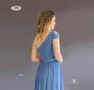 One Shoulder Pleated Bodice Gown in Steel Blue Style 9631 by Miracle Agency