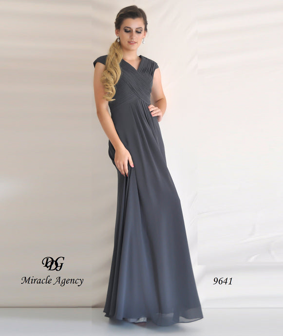V/Neck Sleeveless Formal Dress in Charcoal Style 9641 by Miracle Agency