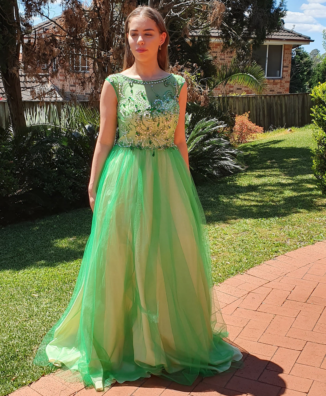 Illusion Beaded Neckline Ball Gown in Emerald Style 5058 by Miracle Agency