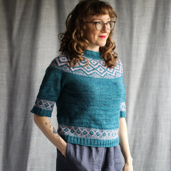 Malahide Sweater - Kit Size 7 to 9 - Myrtle & Polarize Pre order