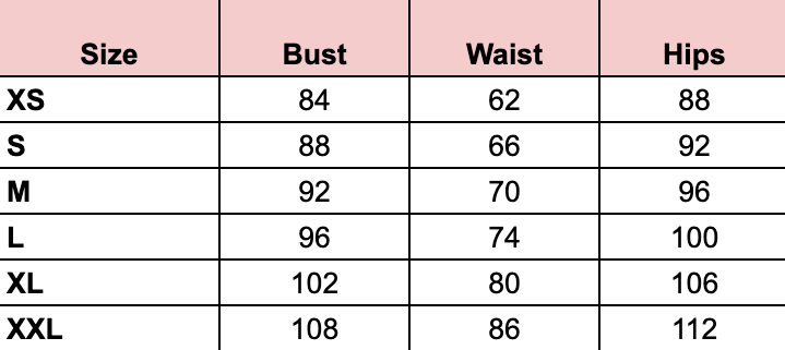 Wildsoul Clothing fair fashion size chart