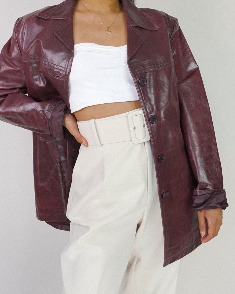 Glass of Burgundy Leather Jacket