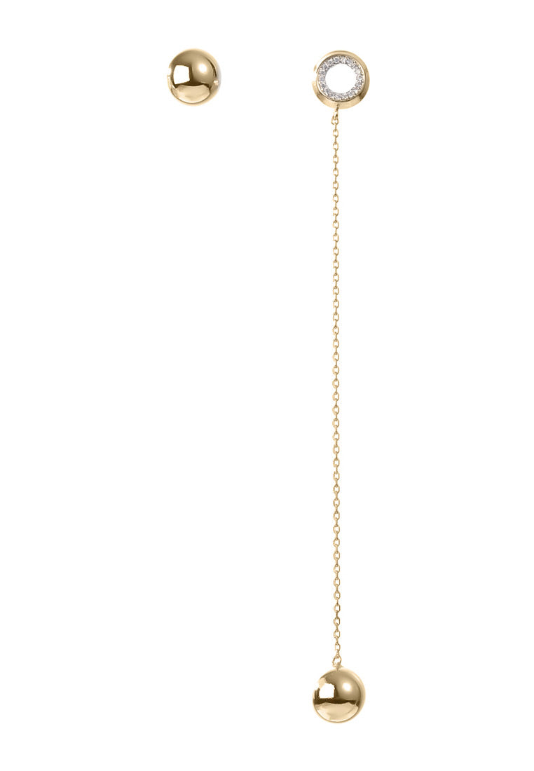 EXCLAiM Long Asymmetrical Ball Earrings Gold