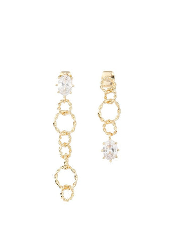 EXCLAiM Asymmetrical Earrings with Crystals - EXCLAiM