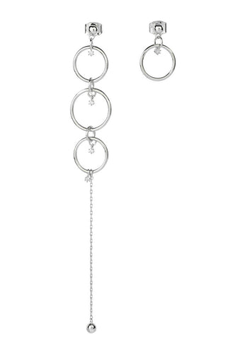 EXCLAiM Asymmetrical Earrings with Crystals (Silver)
