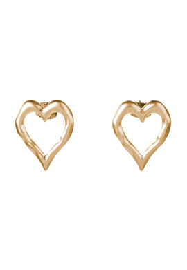 EXCLAiM Heart-Shaped Stud Earrings Gold