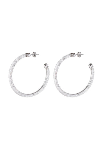 EXCLAiM Hoop Earrings with Crystals Silver