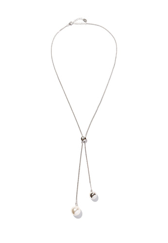 EXCLAiM Long Ball and Pearl Necklace Silver