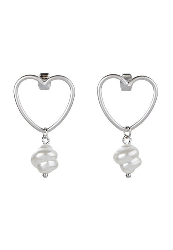EXCLAiM Heart Pearl Earrings - EXCLAiM