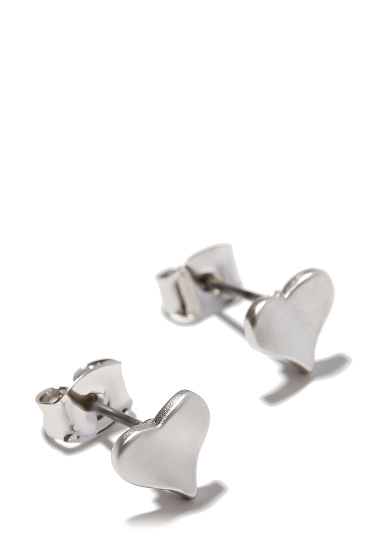 EXCLAiM Heart-Shaped Stud Earrings Silver