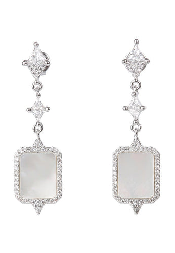 EXCLAiM Long Square Mother-of-Pearl Pendant Earrings - EXCLAiM