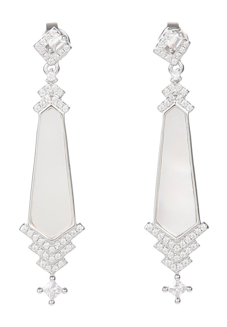 EXCLAiM Long Irregular Mother-of-Pearl Pendant Earrings - EXCLAiM
