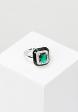 Load image into Gallery viewer, EXCLAiM Large Enamel Blue Crystal Ring
