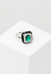 EXCLAiM Large Enamel Blue Crystal Ring