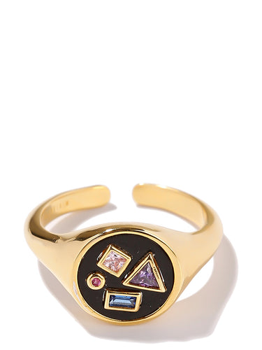 EXCLAiM Crystal Geometry Ring Gold