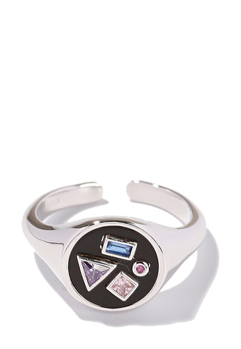 EXCLAiM Crystal Geometry Ring Silver