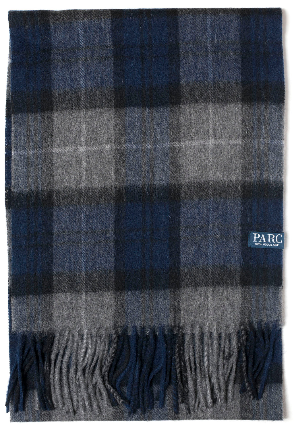 Navy Plaid Wool Scarf