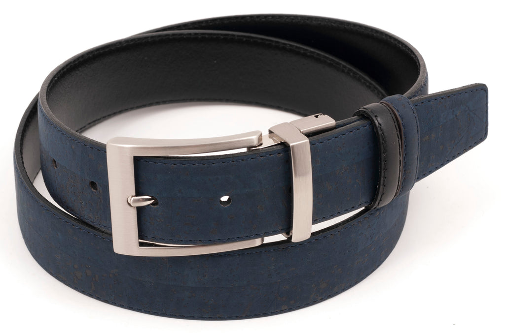 Navy/Black Reversible Cork Belt
