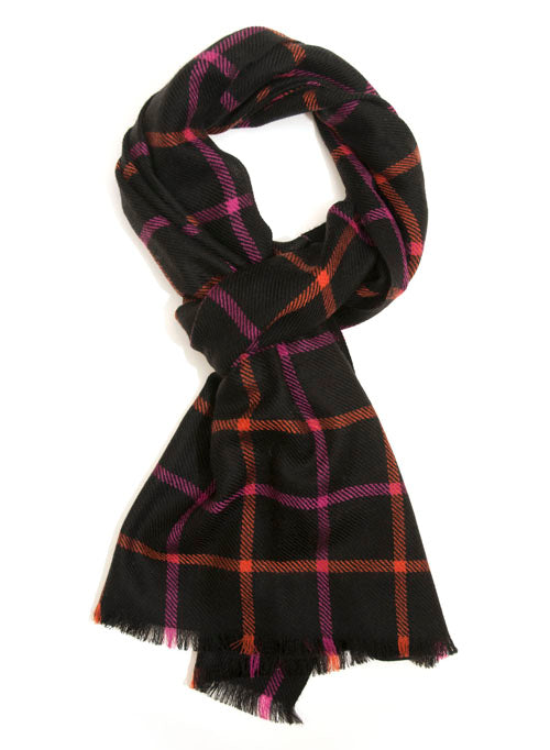 Black Windowpane Check Microwool Scarf