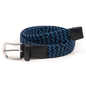 Navy Zig/Zag Stretch Braid Belt