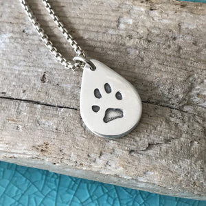 Paw Print Silver Link Necklace
