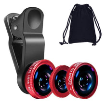 Load image into Gallery viewer, Universal 4-Piece Cellphone Lens Kit for iPhones, Android, Blackberry HTC and Most Smartphones (Red)