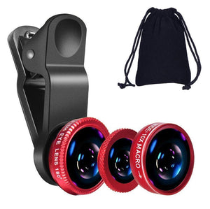 Universal 4-Piece Cellphone Lens Kit for iPhones, Android, Blackberry HTC and Most Smartphones (Red)