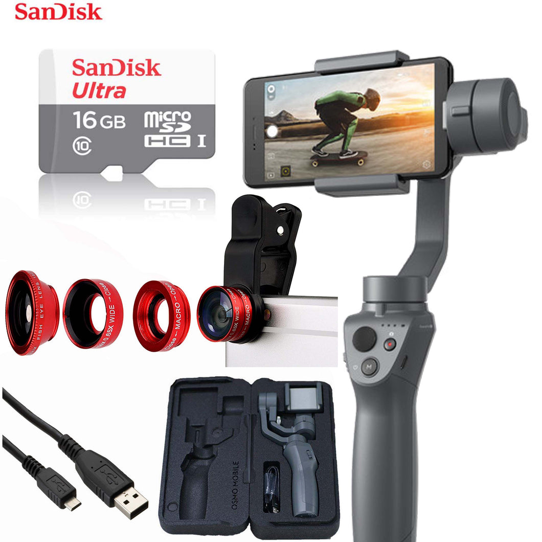 DJI Osmo Mobile 2 Handheld Smartphone Gimbal Stabilizer + Sandisk 16GB Micro SD + 4-Piece Cellphone Lens Set Deluxe Video Bundle