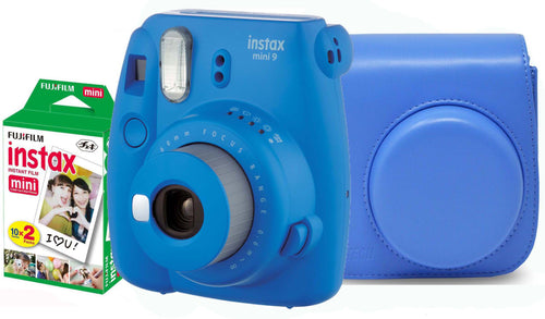 Fujifilm instax mini 9 Instant Film Camera (Cobalt) with Case & 20 Shots of Film